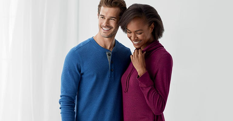 A man and woman wearing our newest styles