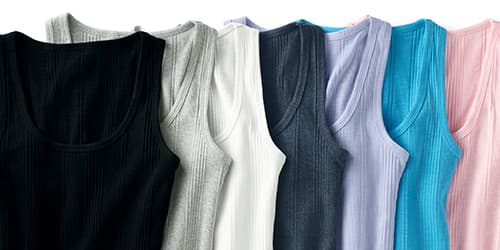 Laydown of varying NEW colors we have the ribbed tank availible in