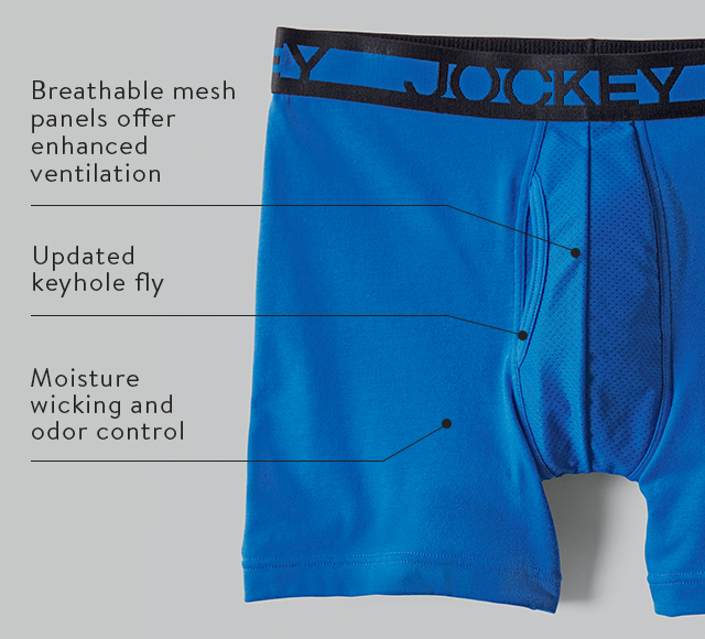 Cotton Performance: Breathable mesh panels offer enhanced ventilation, Updated keyhole fly and Moisture wicking and odor control