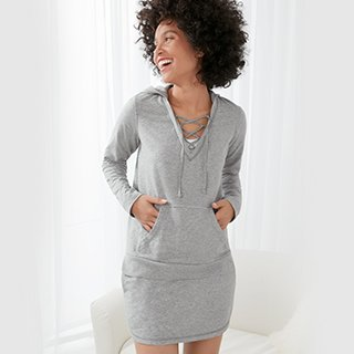 Woman wearing sleepwear hoodie