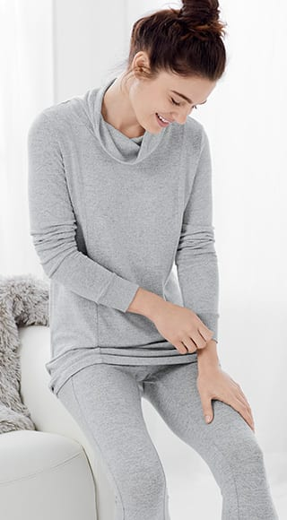 Shop Ribbed Sleeve Cowl Neck Tunic