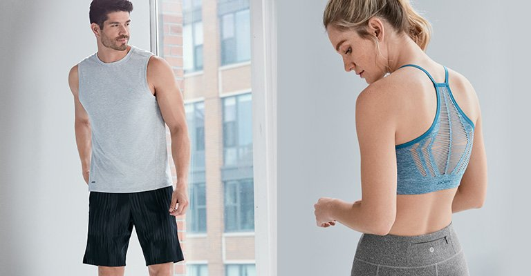 Man and woman wearing our NEWEST activewear