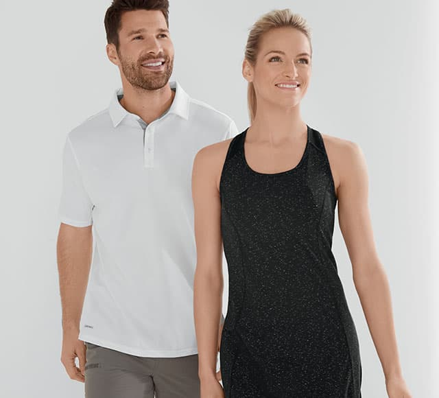 A man and woman wearing our newest activewear